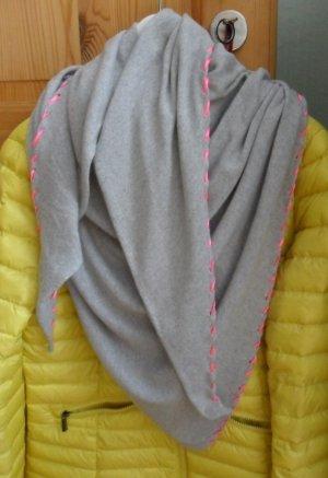 Zwillingsherz Woolen Scarf light grey-neon pink mixture fibre