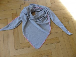 Triangel/Dreieckstuch, hellgrau mit pink, mit Kaschmir, 190x130x130, Neu