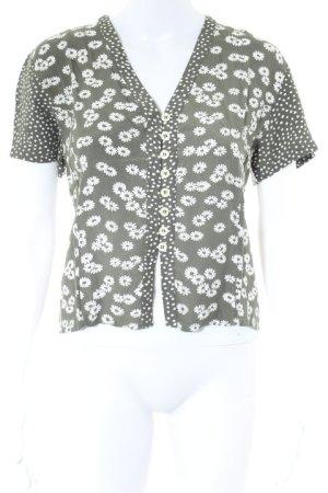 Triangle Kurzarm-Bluse weiß-waldgrün Blumenmuster Casual-Look