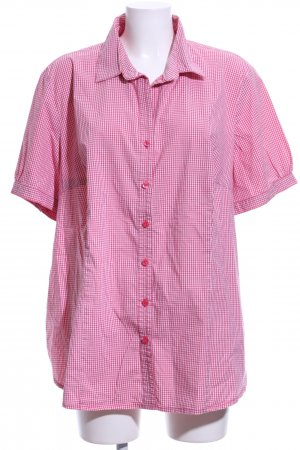 Triangle Short Sleeve Shirt pink-white check pattern casual look