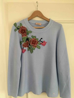 Triangle +++ Pullover mit Blumen +++ hellblau +++ Gr. 40