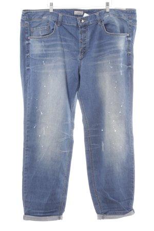 Triangle Slim Jeans stahlblau Farbtupfermuster Casual-Look