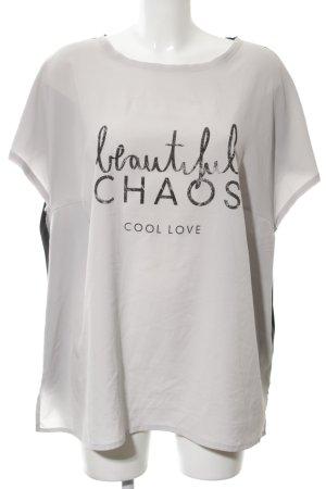 Triangle Camiseta blanco puro-negro letras impresas look casual
