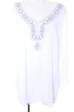 Triangle Tunikabluse weiß-silberfarben abstraktes Muster Boho-Look