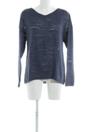 Triangle V-Ausschnitt-Pullover dunkelblau Casual-Look