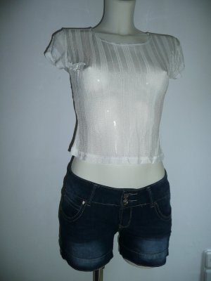 Triangle Viscose Crop Top weiß seidig glänzend transparent Gr S 36