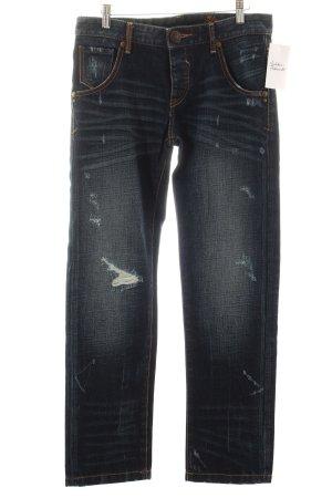 Tribeca New York Boyfriendjeans dunkelblau-wollweiß Destroy-Optik