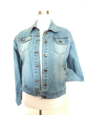 TRIBECKA Denim NEW YORK vintage Jeans Jacke STREET FASHION LOOK helle Waschung