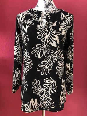 Tricia schwarzes Longblusenshirt mit weißem Muster