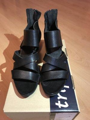 trippen Plateauzool sandalen zwart Leer