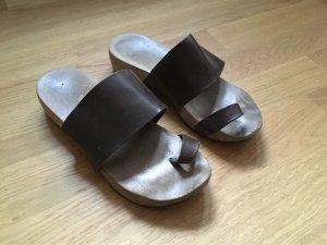 trippen Clog Sandals dark brown-black brown