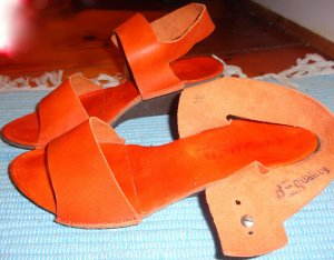Platform Sandals orange leather