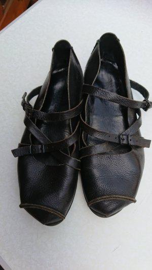 trippen Ballerines à lacets noir cuir