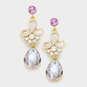 Tropfen Ohrringe gold lila pink flieder mit Swarovski-Elementen