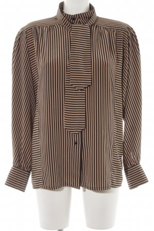tru blouse Langarm-Bluse hellbraun-schwarz Streifenmuster Elegant