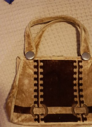 Handbag brown-natural white mixture fibre