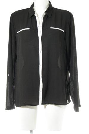 Trucco Transparenz-Bluse schwarz-weiß schlichter Stil