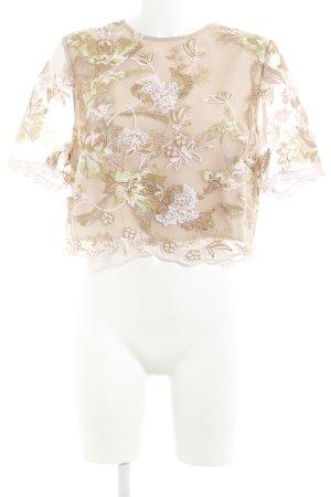 True Decadence Spitzenbluse roségoldfarben florales Muster Casual-Look