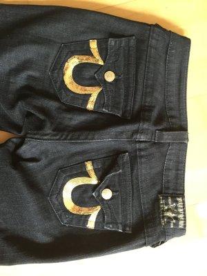 True Religion Billy 28 5 Pocket schwarz mit goldener Pailletenstickerei