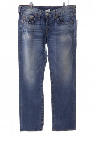 True Religion Boot Cut Jeans blau Logo-Applikation aus Leder