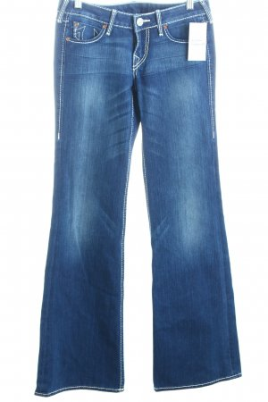 True Religion Boot Cut Jeans dunkelblau-weiß Casual-Look