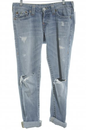 True Religion Boyfriendjeans himmelblau Destroy-Optik