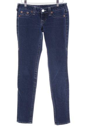 True Religion Jeans taille basse bleu acier-blanc style décontracté
