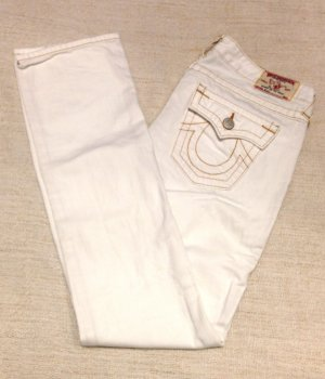 True Religion Jeans Bootcut Weiss mit Steinbesatz Special Edition Gr 28