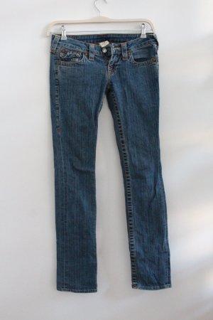 True Religion Low-Rise Trousers cornflower blue cotton