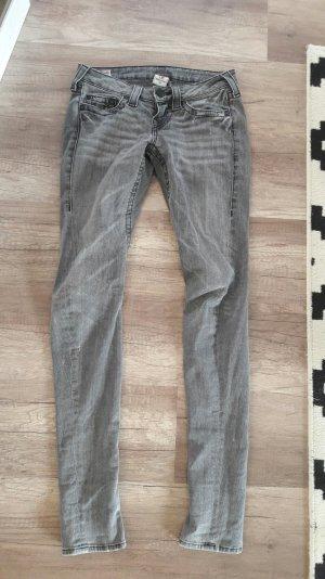 True Religion Jeans Skinny Slim Fit Röhre Tapered Grau 26