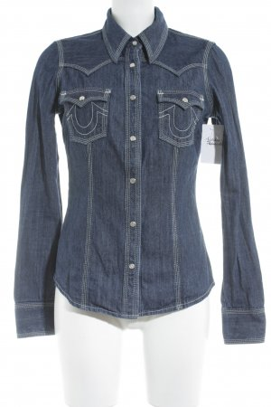 True Religion Jeansbluse blau Casual-Look