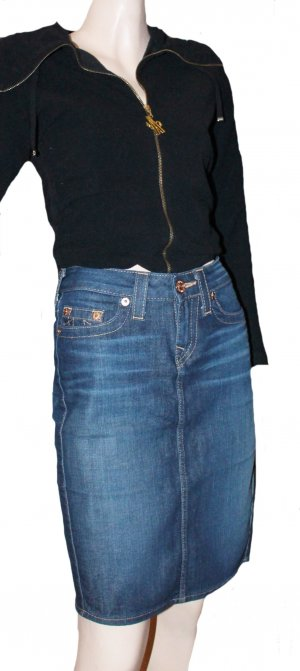 TRUE RELIGION Jeansrock Rock dunkelblau Stretch Gr. 26 ( 38 )