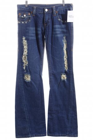 True Religion Jeansschlaghose dunkelblau Destroy-Optik
