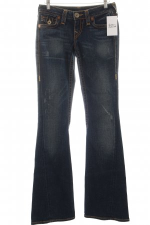 True Religion Jeansschlaghose dunkelblau-orange Logo-Applikation aus Leder