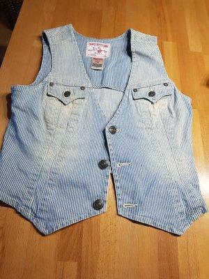 True Religion Gilet en jean bleu clair