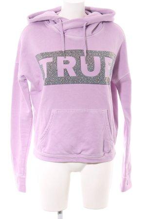 True Religion Kapuzensweatshirt lila-schwarz Schriftzug gedruckt Casual-Look