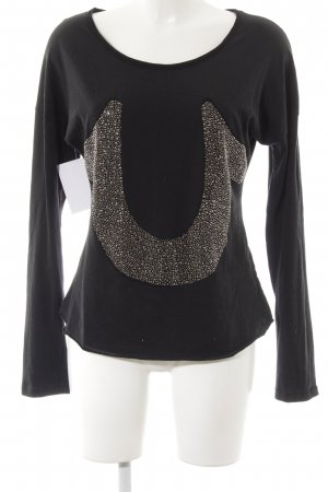 True Religion Longsleeve schwarz Motivdruck Glitzer-Optik