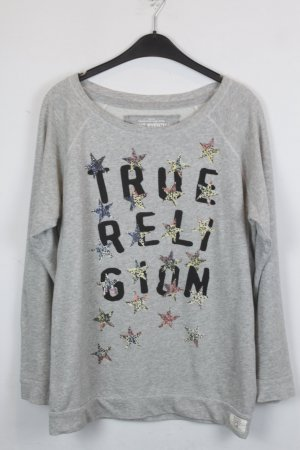 True Religion Pullover Sweater Gr. M grau mit Print Pailletten Applikationen (18/5/329/E)