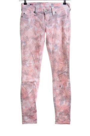 True Religion Röhrenhose hellgrau-pink abstraktes Muster Casual-Look