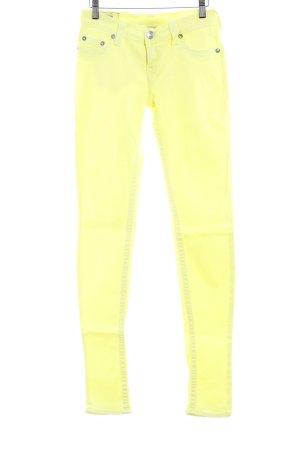 True Religion Jeans cigarette jaune fluo style décontracté