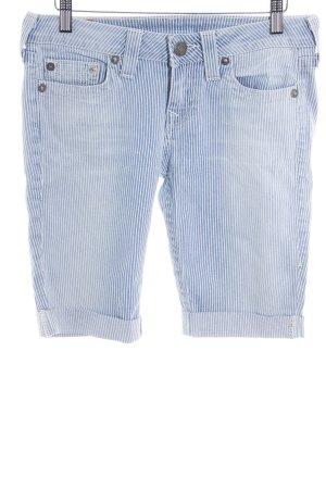 True Religion Shorts wollweiß-himmelblau Streifenmuster sportlicher Stil