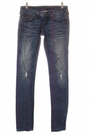 True Religion Skinny Jeans dunkelblau Destroy-Optik