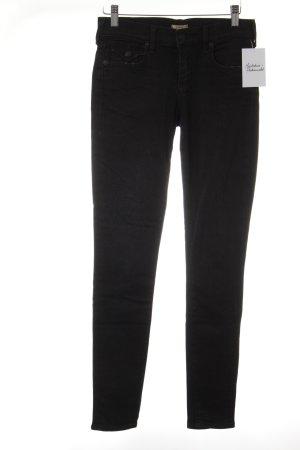 True Religion Skinny Jeans schwarz Logo-Applikation aus Leder