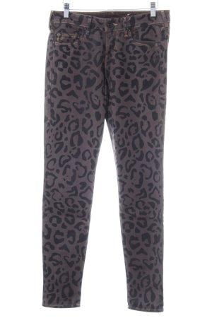 True Religion Skinny Jeans schwarzbraun-dunkelbraun Leomuster Retro-Look