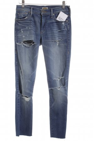 True Religion Skinny Jeans stahlblau Destroy-Optik