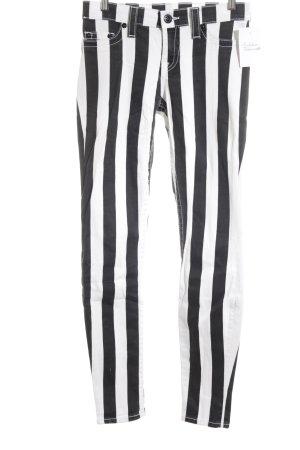 True Religion Skinny Jeans weiß-schwarz Streifenmuster Casual-Look