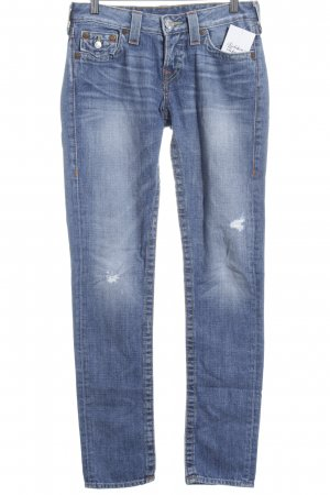 True Religion Slim Jeans blau Destroy-Optik