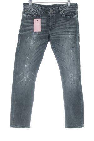 True Religion Slim Jeans dunkelgrau-anthrazit Destroy-Optik