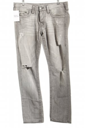 True Religion Slim Jeans grau Used-Optik