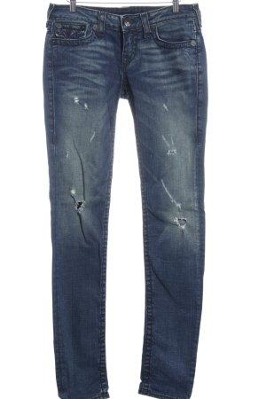 True Religion Slim Jeans hellbeige-dunkelblau meliert Jeans-Optik